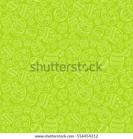 Vector seamless simple pattern with ornamental eggs. Easter holiday green background for printing on fabric, paper for scrapbooking, gift wrap and wallpapers.