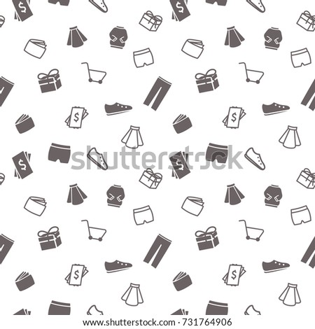 Vector seamless simple pattern with shopping elements (basket, wallet, clothes, shoes, money, gift box). Sale background for website, printing on fabric, gift wrap and wallpapers.