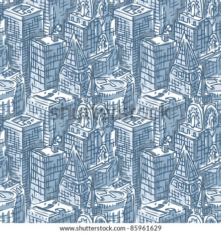 vector seamless skyscraper pattern