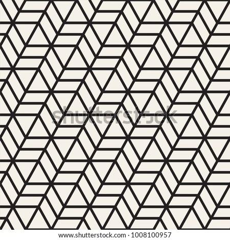Vector seamless stripes pattern. Modern stylish texture with monochrome trellis. Repeating geometric hexagonal grid. Simple lattice graphic design.
