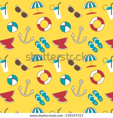 Vector seamless summer pattern with simple shapes of sunglasses, ball, anchor, etc on yellow background - stock vector