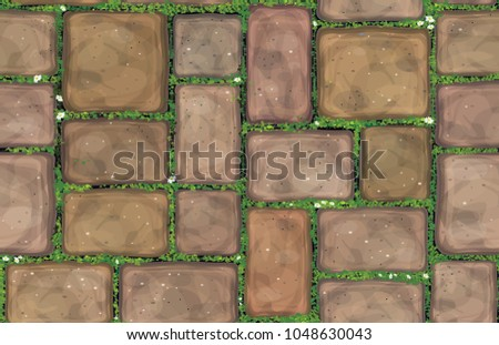 Vector seamless texture brown stones  pavement  covered grass.