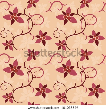 Vector seamless texture of floral ornament - stock vector