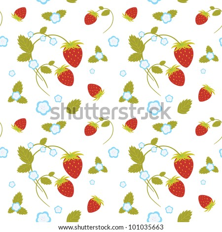Vector seamless texture of strawberries