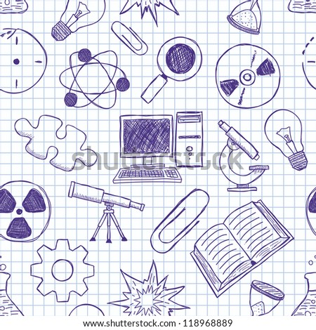 Vector seamless texture on science - stock vector