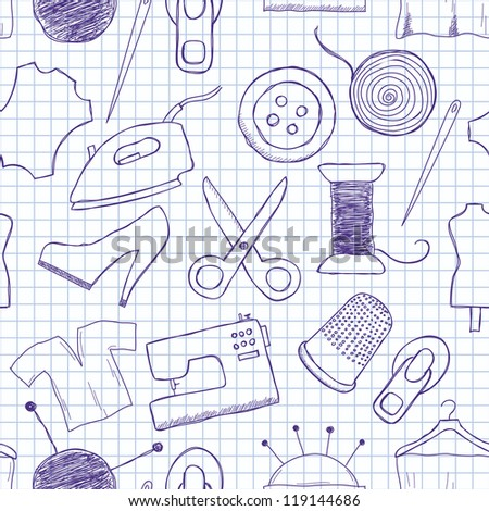 Vector seamless texture on sewing