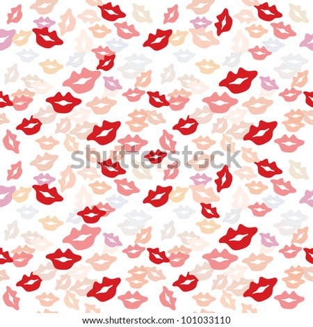 Vector seamless texture with a lot of color lips prints.