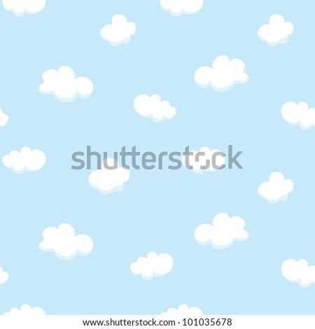 Vector seamless texture with cartoon clouds - stock vector