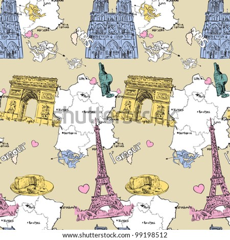 Vector seamless texture with french motive.