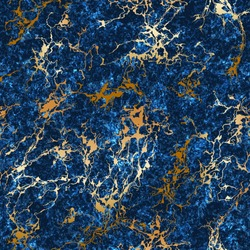 Vector seamless textured marble trendy pattern with gold veins. Luxury golden granite stone texture on dark blue background