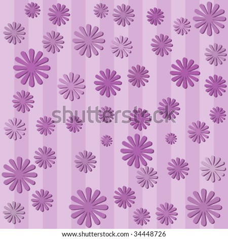 Vector seamless tile of wallpaper with purple flowers on purple stripes.
