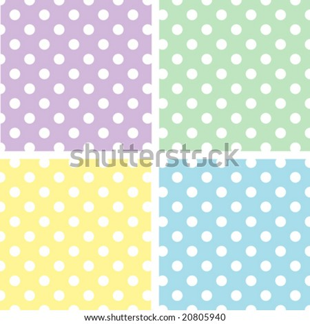 vector - Seamless Tiles: Large White Polka Dots on Pastel Lavender, Yellow, Aqua, Green. EPS8 includes 4 pattern swatches (tiles) that seamlessly fill any shape.