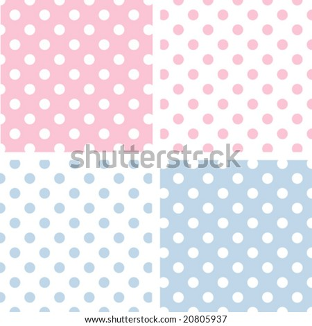 vector - Seamless Tiles: Large White Polka Dots on Pastel Pink and Blue with reverse. EPS8 includes 4 pattern swatches (tiles) that will seamlessly fill any shape.