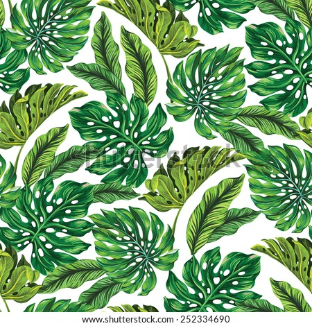 vector seamless tropical leaves pattern strong greens leaves of