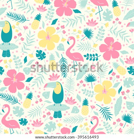 Vector seamless tropical pattern. Birds, flamingo, toucan, flowers, pineapples in the jungle.