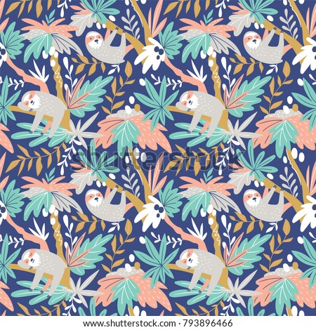 Vector seamless tropical pattern with cute sloths. Hand drawn design for fabric in scandinavian style.