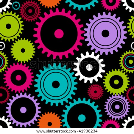 vector seamless turning cogwheels or gears. happy colors