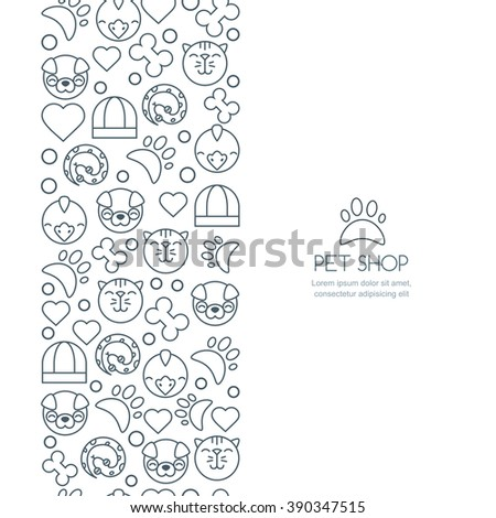 Vector Seamless Vertical Background With Outline Icons Of Cat – Flyer Outline