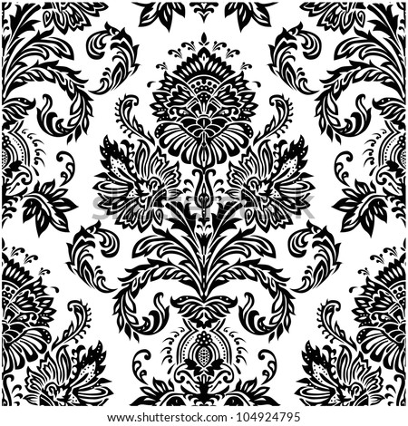Vector Seamless Victorian Pattern. Swatch included. Easy to edit..