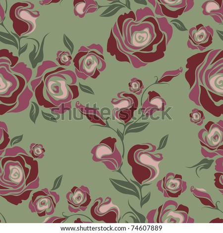 "Vector Seamless vintage flower rose pattern (from my big ""Seamless pattern collection"")"
