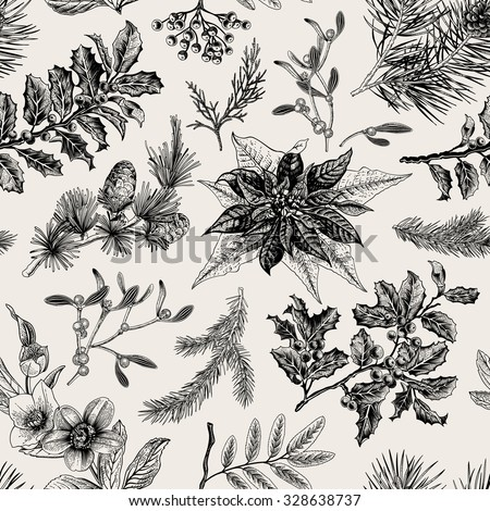 Vector Seamless vintage pattern. Christmas Botanical background.