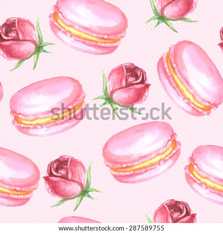 Vector seamless watercolor pattern with roses and pink macaroons