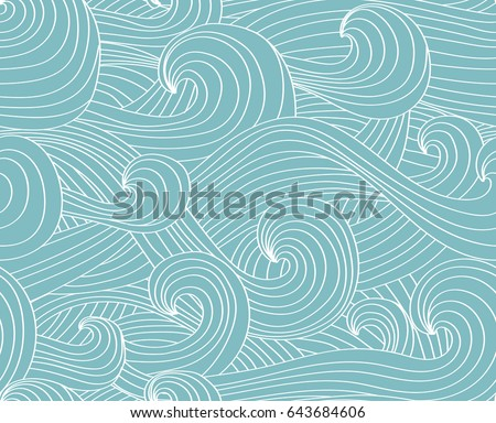 vector seamless wave hand drawn