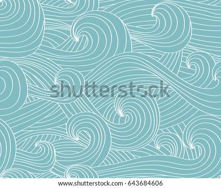 vector seamless wave hand drawn