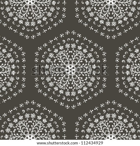 vector seamless white and black floral pattern background