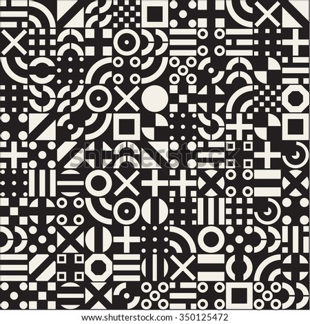 Vector Seamless White Geometric Primitive Square Blocks Grid Pattern on Black Abstract Background