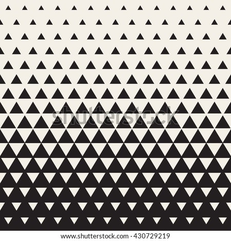 Vector Seamless White to Black Color Transition Triangle Halftone Gradient Pattern. Abstract Geometric Background Design