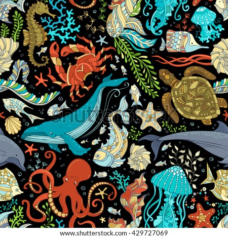 vector seamless wild sea life