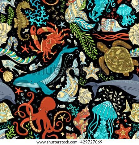 vector seamless wild sea life