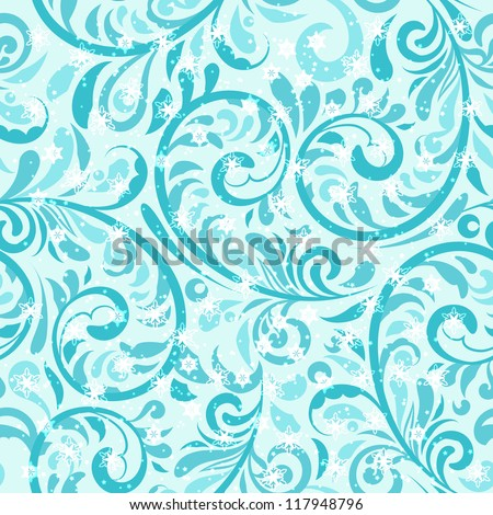 vector seamless winter pattern with frosty swirls and snowflakes,  fully editable eps 10 file, seamless pattern in swatch menu