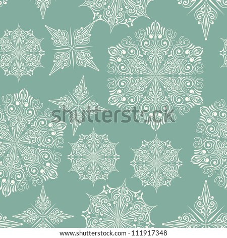 Vector Seamless Winter Pattern with Snowflakes, fully editable eps 8 file with clipping mask and pattern in swatch menu