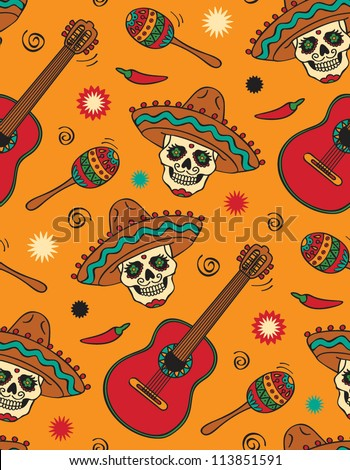 vector seamless with guitar and