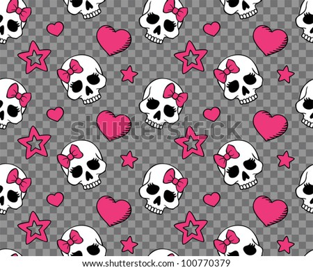 vector seamless with hearts and skulls
