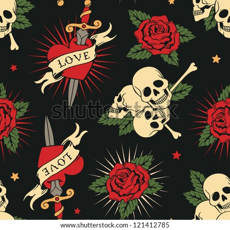 vector seamless with roses hearts and skulls