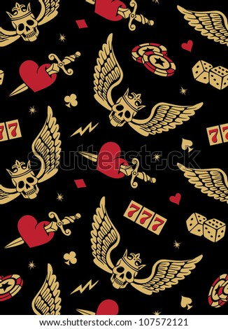 vector seamless with skulls, roses and wings
