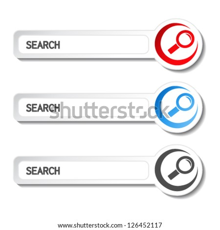 Vector search buttons, stickers with magnifier symbol