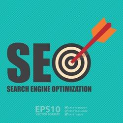 Vector : Search Engine Optimization, SEO Concept With Dart Hitting a Target Bullseye
