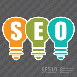 Vector : Search Engine Optimization, SEO Concept With Light Bulb