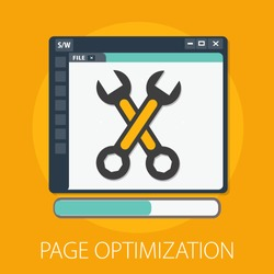 Vector search optimization illustration, web development search optimization and internet with