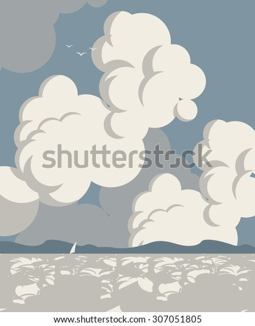 vector seascape with clouds