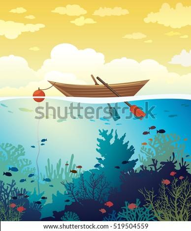 vector seascape   wooden boat