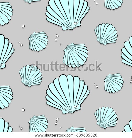 Vector seashells with jewels. Tropical summer nature gem background. Fashion vacation tropical ocean print