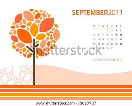 vector seasonal tree calendar
