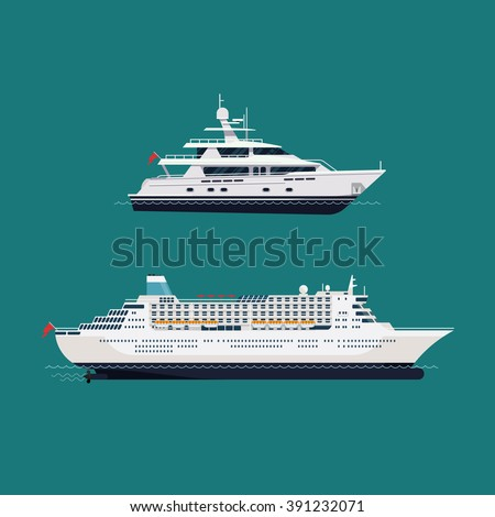 Vector seaway ocean transport passenger ships. Cool transatlantic cruise ship and motor yacht boat in trendy flat design