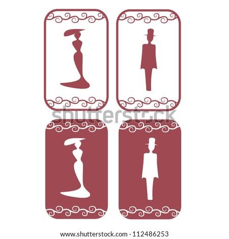 Vector secession restroom symbols - stock vector