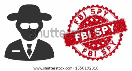 Vector secure agent icon and rubber round stamp watermark with FBI Spy text. Flat secure agent icon is isolated on a white background. FBI Spy stamp uses red color and rubber texture.